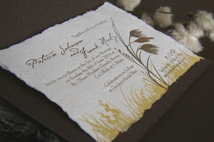 Wedding Invitation inspired by bog cotton