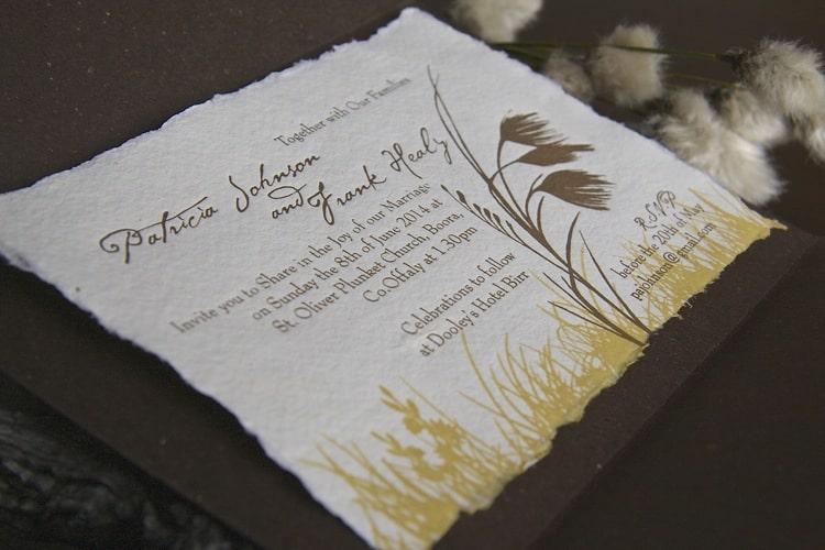 Wedding Invitation inspired by bog cotton