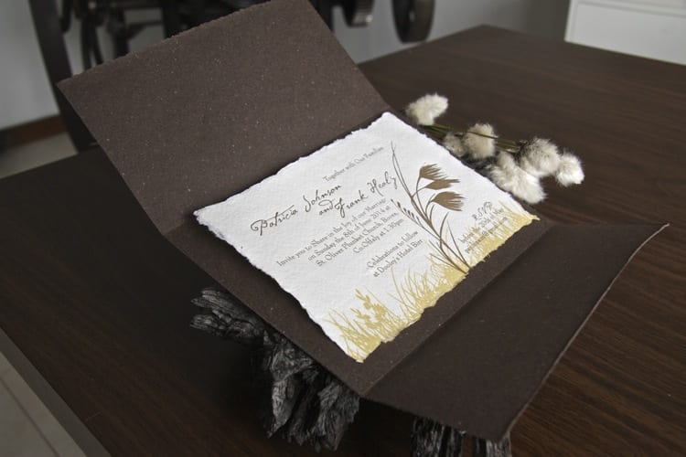 Boora cotton grass invitation opened