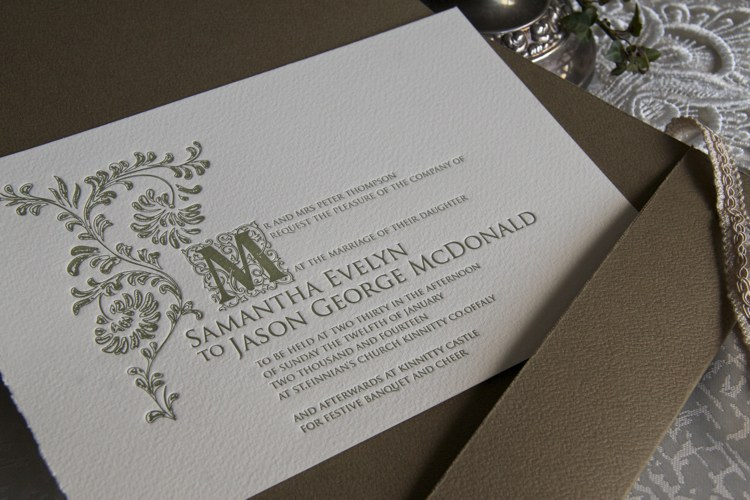Revealing Wedding Invitation - Old English inspired by Kinnitty Castle
