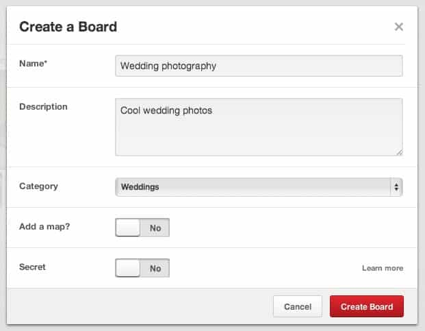 Create a Pinterest Board