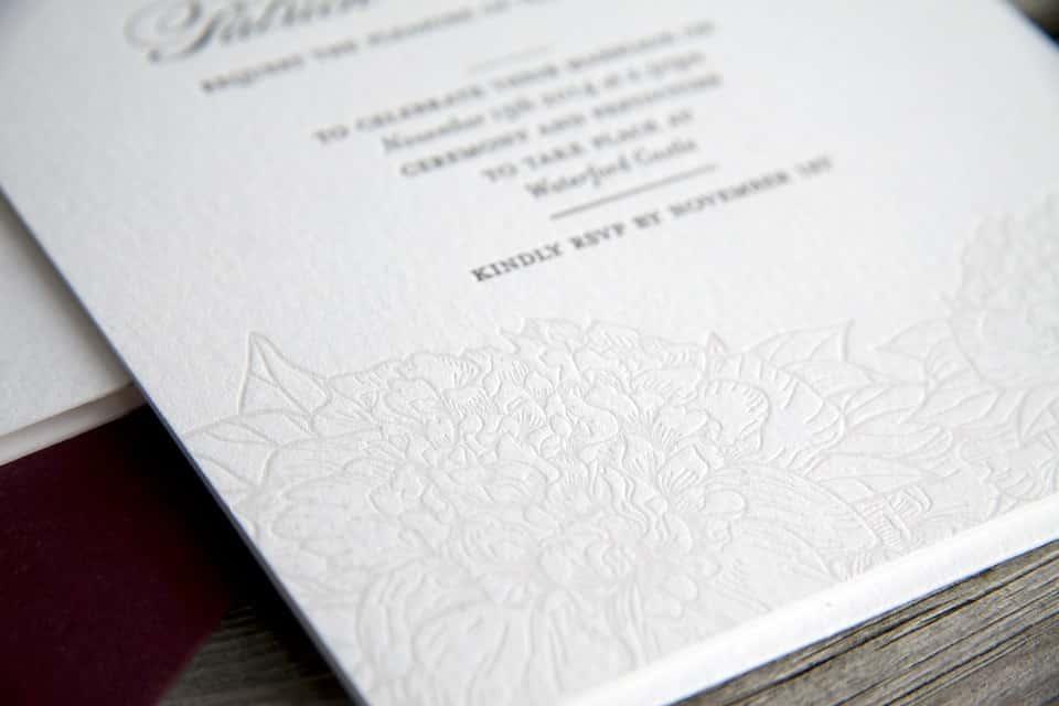 Floral letterpress detail