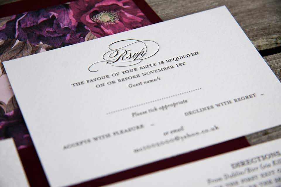 Letterpress printing detail - RSVP floral invitation