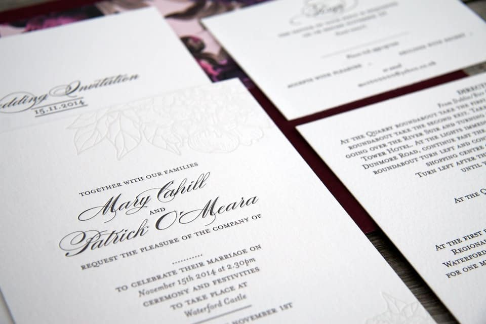 Floral wedding invitation suite detail