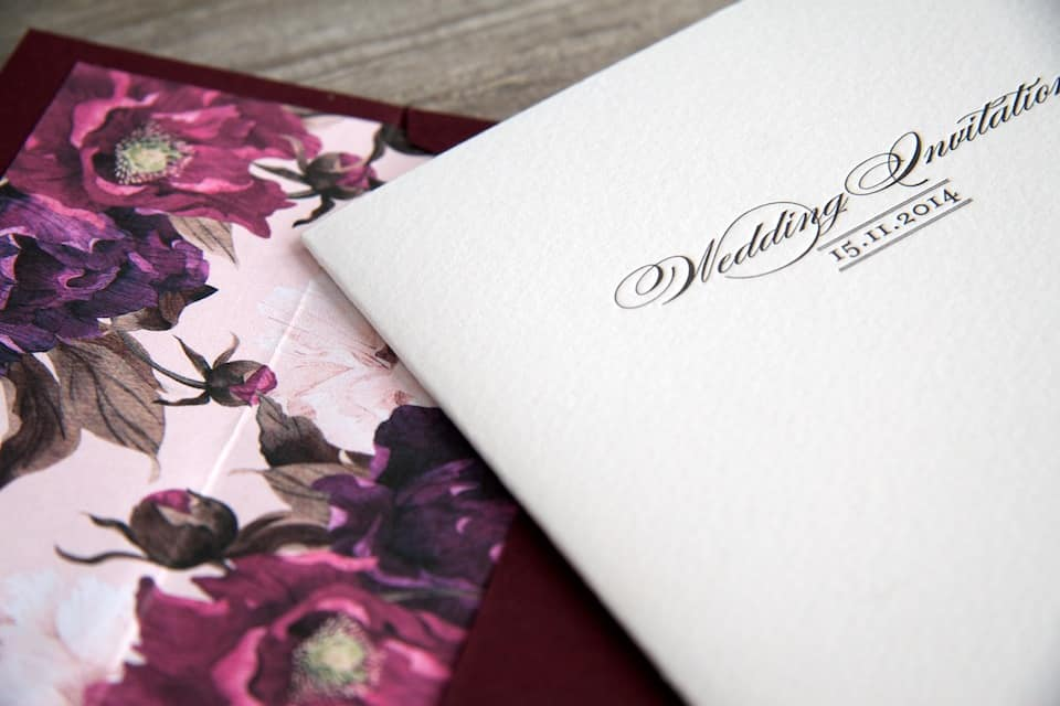 Floral invitation wallet and envelope detail