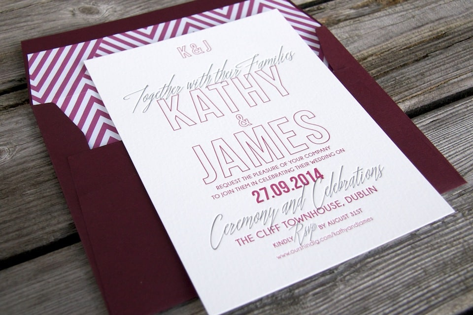 Letterpress wedding invitations | Cocktail