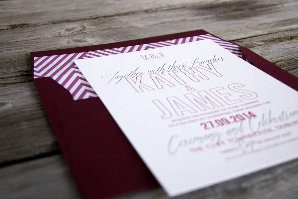 Cocktail wedding invitation letterpress detail