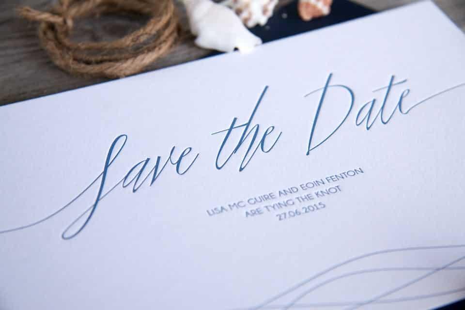 Letterpress Save the Date - Sea Breeze