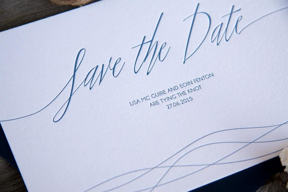 Sea Breeze letterpress invitation detail