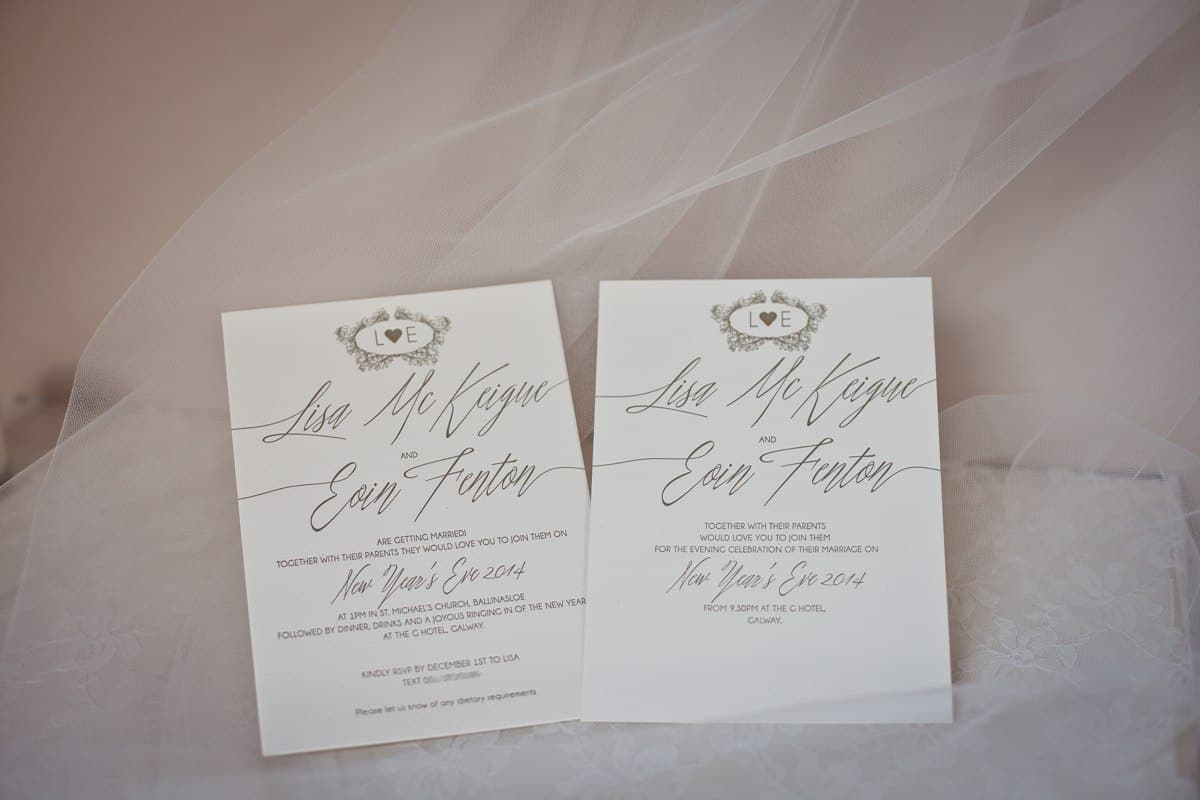 Lisa and Eoin New Years Eve Wedding invitations 2014