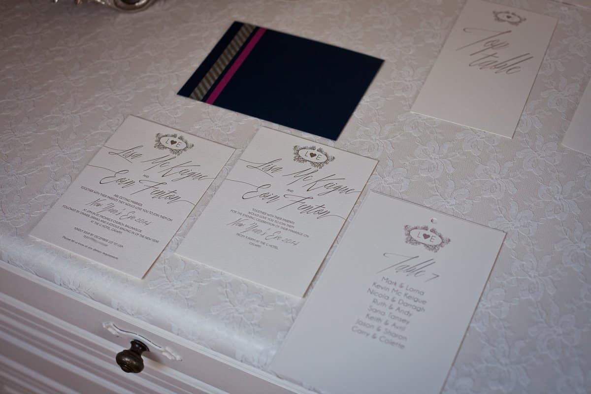 Lisa and Eoin New Years Eve Wedding invite suite 2014