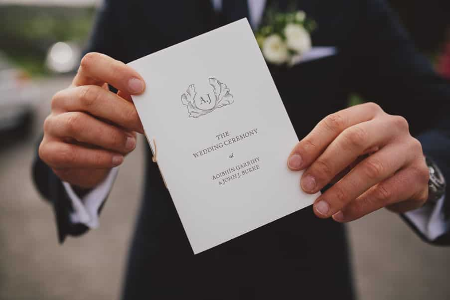 Letterpress Wedding Stationery Aoibhin Garrigy and John J Burke Ceremony book