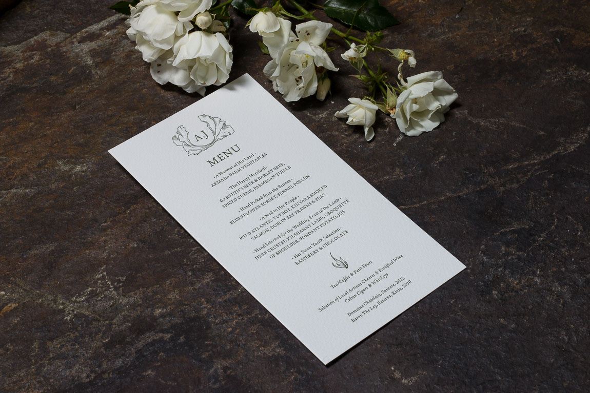 wedding stationery Aoibhin and John Menu Armada Hotel Spanish Point