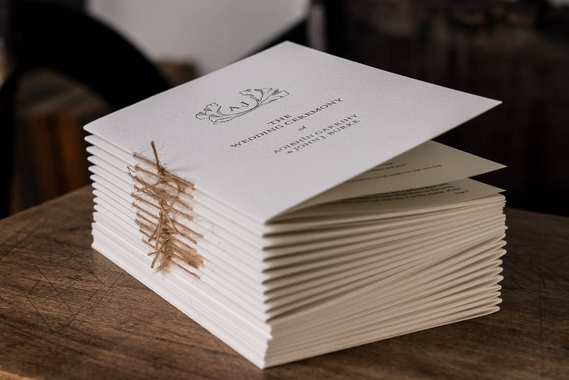 Wedding Stationery Ceremony Book A&J