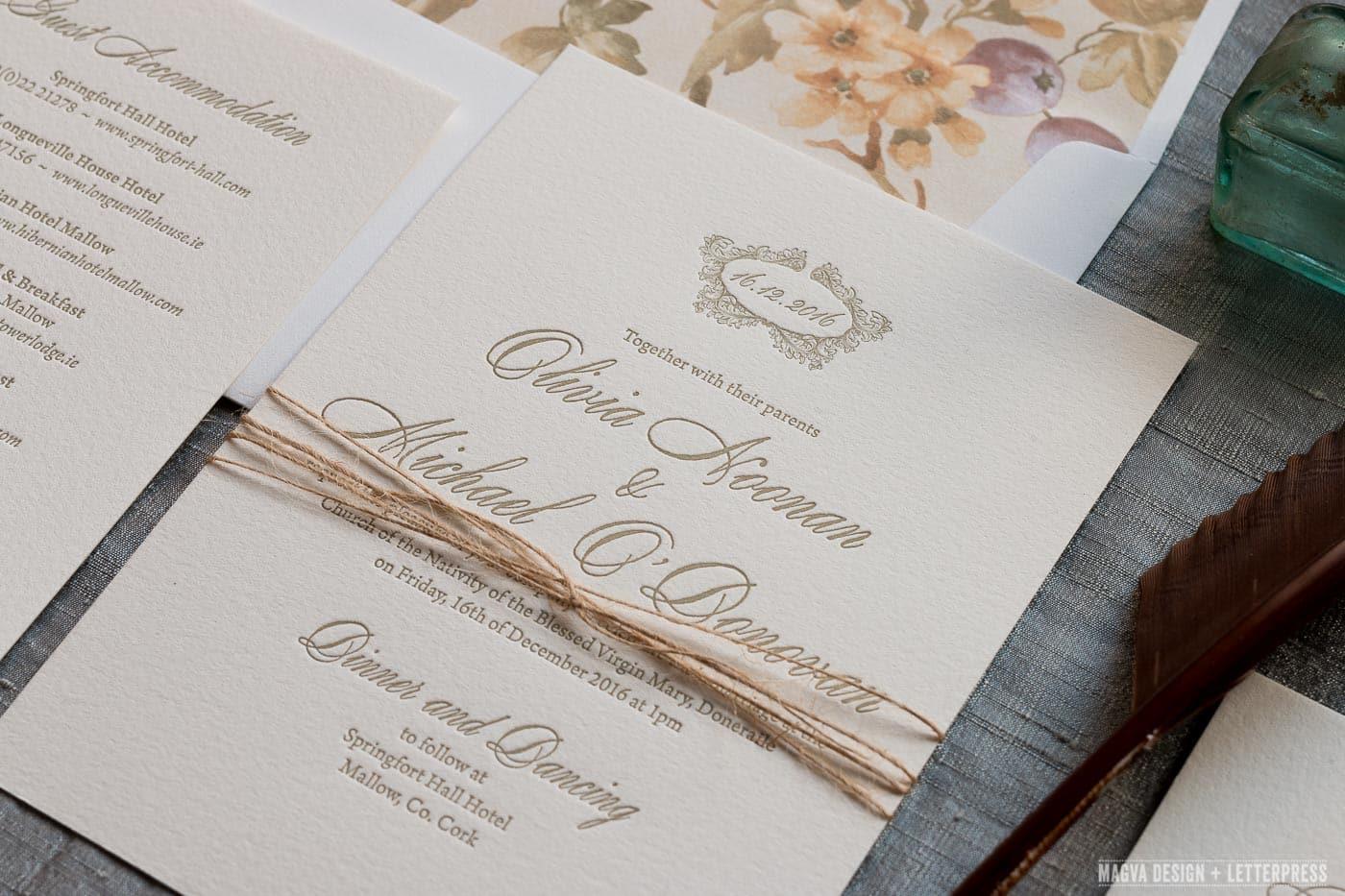 Letterpress Wedding Invitations.Antoinette Magva Design Letterpress