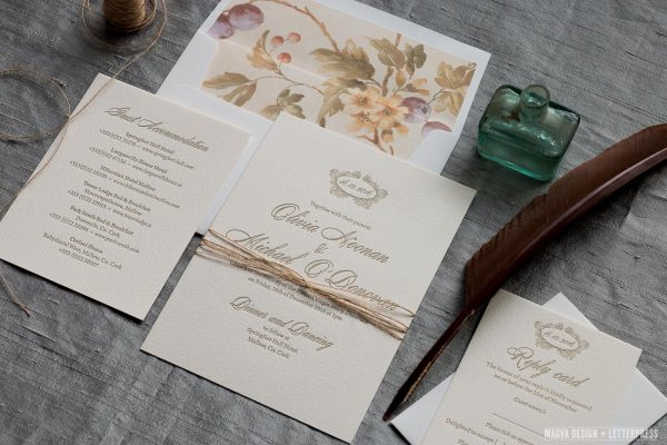 Classic wedding invitation suite printed in a gold ink on a vintage paper