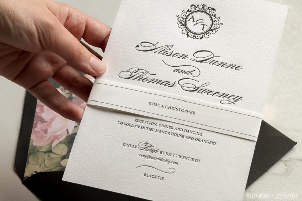 Wedding invite with guests names on a belly band
