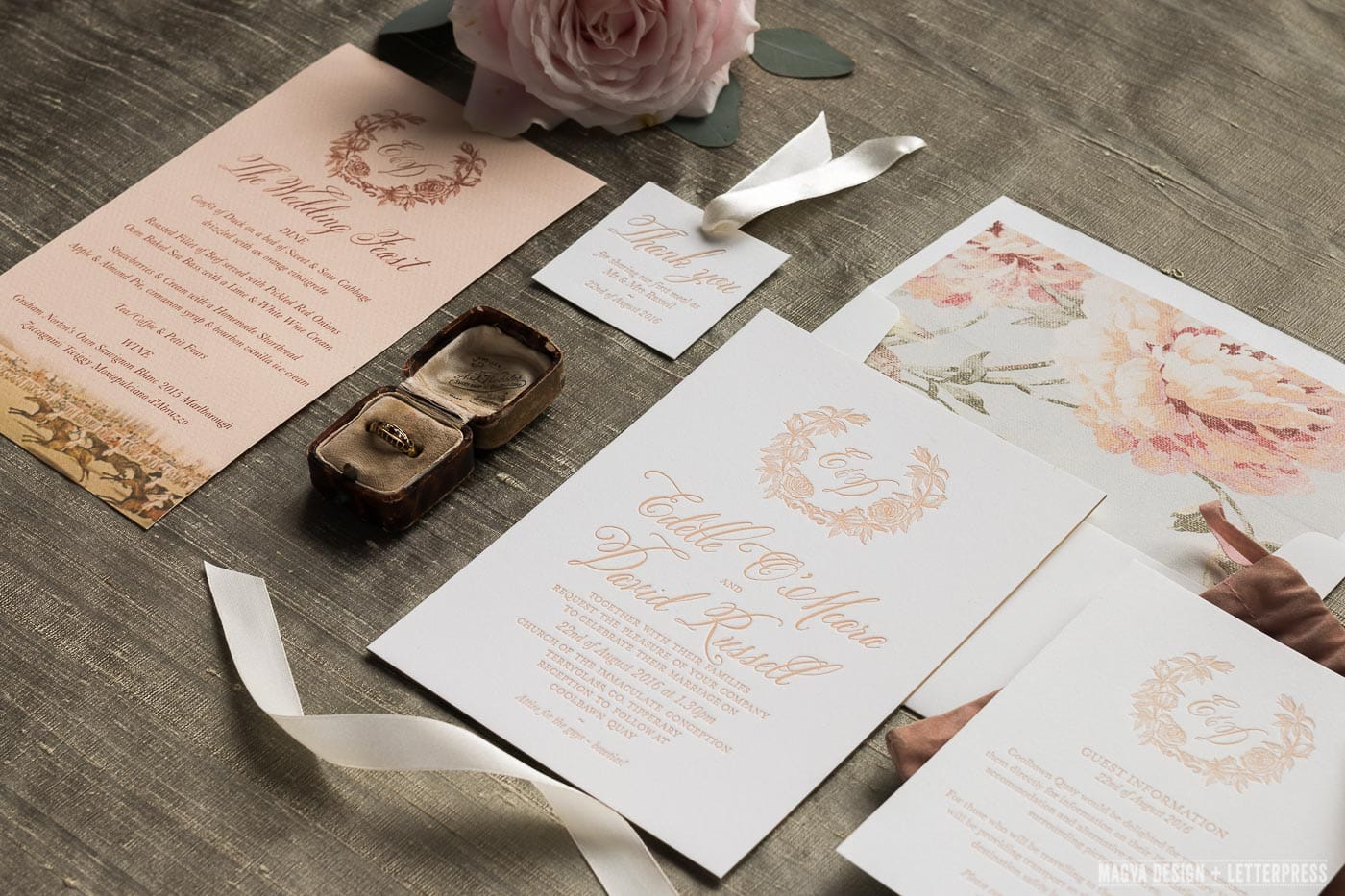 Wedding invitation suite and old engagement ring