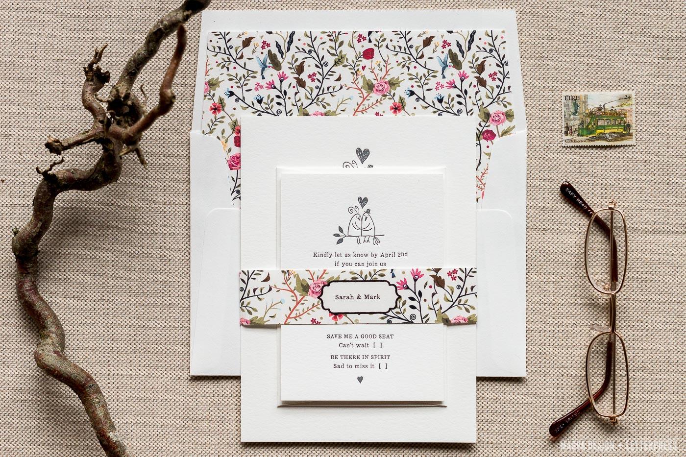 Love Birds Wedding Invitations: MAGVA Design + Letterpress
